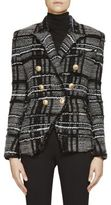 Balmain Stretch Tweed Knit Double-Breasted Jacket