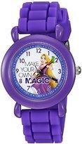 Disney Girl's 'Rapunzel' Quartz Plastic and Silicone Casual Watch, Color:Purple (Model: WDS000018)