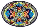 Signed Handcrafted Authentic Talavera 13 Inch Oval Platter, 'Blue Teziutlan'