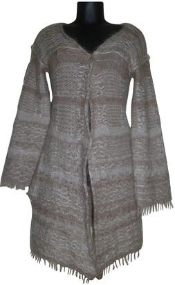 Non Signé / Unsigned Non Signe / Unsigned Kimono Beige Wool Knitwear