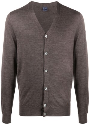 Fedeli V-neck ribbed knit cardigan