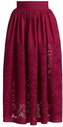Alaia Pointelle Wool Midi Skirt