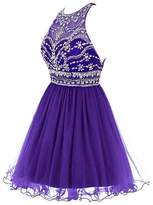 Sound of blossoming Crew Neck Beaded Short 8th Grade Homecoming Prom DressPE