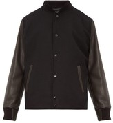 Rag & Bone Boulder Leather-sleeve Wool-blend Bomber Jacket - Mens - Black