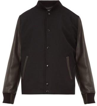 Rag & Bone Boulder Leather Sleeve Wool Blend Bomber Jacket - Mens - Black