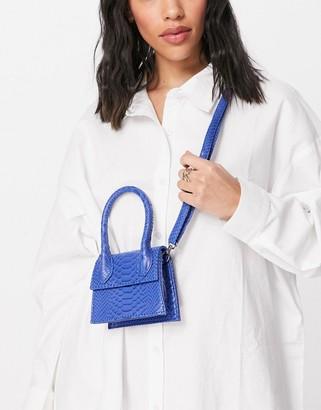 Ego mini bag in bright blue croc