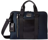 Tumi Alpha Bravo Aviano Leather Slim Brief (Navy) Briefcase Bags