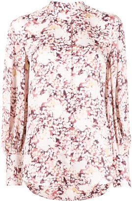 Equipment Floral Print Fitted Cuff Blouse