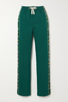 Casablanca Apres Mer Embroidered Satin-trimmed Cotton-jersey Track Pants - Dark green