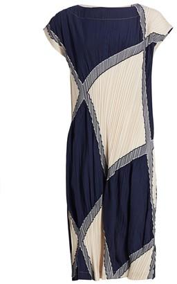 Issey Miyake Pleated Colorblock Shift Dress