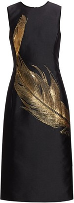Oscar de la Renta Embroidered Metallic Feather Silk Sheath Dress