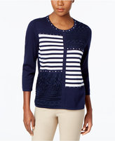 Alfred Dunner Uptown Girl Patchwork Embellished Sweater