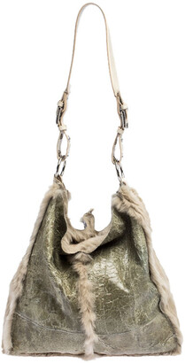 Dolce & Gabbana Green/Beige Fur and Leather Reversible Tote