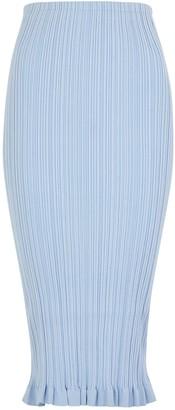 Acne Studios Kora light blue ribbed-knit midi skirt