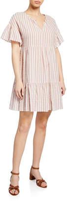 Velvet Nikki Striped Cotton Short-Sleeve Dress