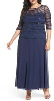 Pisarro Nights Plus Size Women's Embellished Chiffon Long Dress