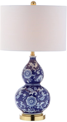 """Jonathan Y Designs Lee 27"""" Ceramic Chinoiserie Table Lamp, Blue and White"""