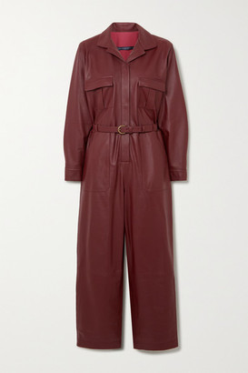ZEYNEP ARCAY Belted Leather Jumpsuit - Burgundy