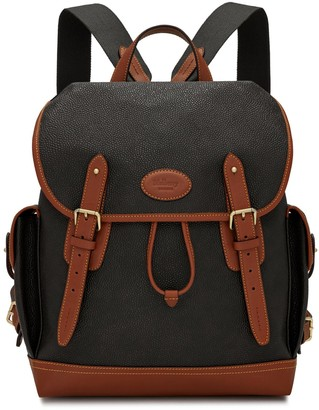 Mulberry Heritage Backpack Black and Cognac Scotchgrain