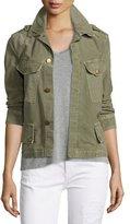 Current/Elliott The Slanted-Pocket Military Jacket, Army Green