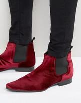 Asos Chelsea Boots In Burgundy Velvet