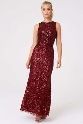 Luxury Illaria Red Ombre Hand-Embellished Sequin Maxi Dress