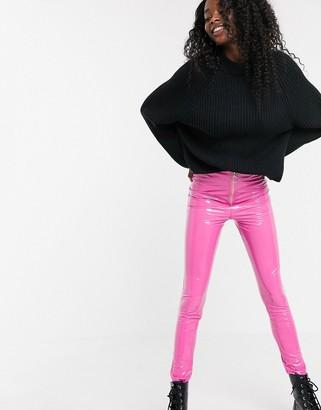 Parisian zip front PU leggings in pink