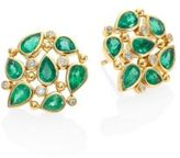 Temple St. Clair Pear Cluster Diamond, Emerald & 18K Yellow Gold Stud Earrings