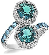 "Judith Ripka Women's ""Casablanca"" 925 Sterling Silver Octagon Swiss Blue Topaz and London Blue Spinel Pave Ring Size - N"