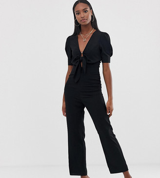 Fashion Union Tall tie front jumpsuit-Black