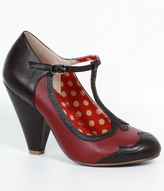 Bettie Page Red & Black Leatherette Kaden T-Strap Spectator Heels Shoes
