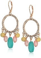 Nine West Rose Gold-Tone and Coral Orbital Drop Earrings