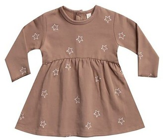 Quincy Mae Fleece Dress All Over Star Embroidery 6 - 12 Months Clay