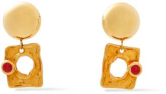 Marni 24-karat Gold-plated Enamel Clip Earrings