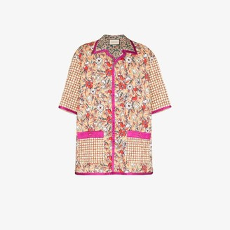 Gucci Oversized printed quilted bowling shirt
