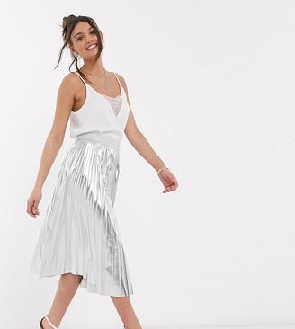 John Zack Petite exclusive metallic pleated midi skirt in silver