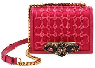 Alexander McQueen Small Butterfly Jewelled Rosette Leather Satchel