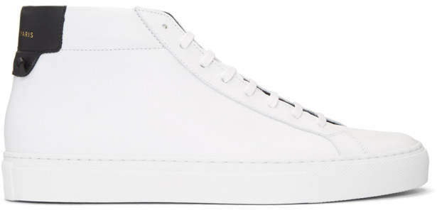Givenchy White and Black Urban Knots Mid-Top Sneakers