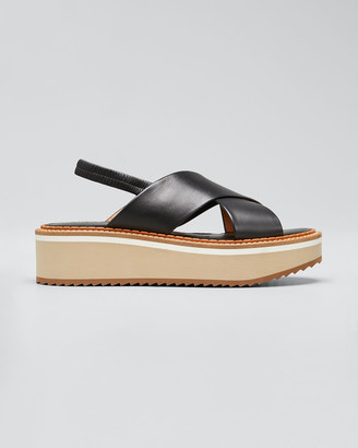Clergerie Freedom Crisscross Leather Chunky-Heel Sandals