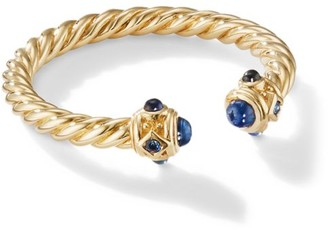 David Yurman Renaissance Open Ring In 18K Gold With Blue Sapphires