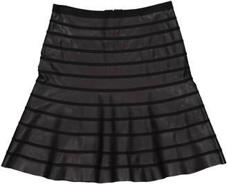 Herve Leger Black Leather Skirt for Women
