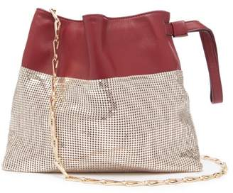 Paco Rabanne Leather And Chainmail Pouch Bag - Womens - Gold Multi