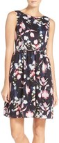 Adrianna Papell Petite Women's Floral Print Fit & Flare Dress