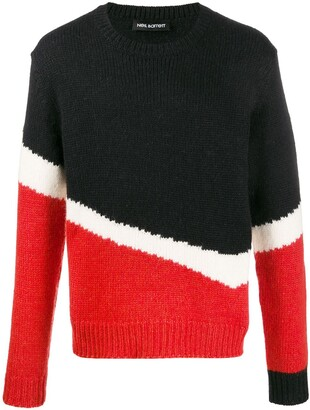 Neil Barrett Colour Block Knitted Jumper