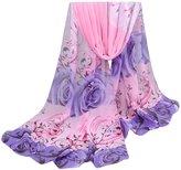 Rokou Lady Elegant Rose Pattern Soft Long Sheer Chiffon Scarf Scarves Wrap Shawl