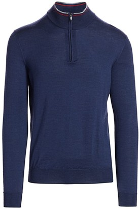 Saks Fifth Avenue COLLECTION Charlotte Quarter Zip Wool-Blend Sweater