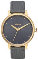Nixon Kensington Goldtone Leather Strap Watch