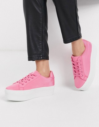 ASOS DESIGN Dramatic chunky lace up trainers in pink