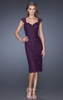 La Femme 20443 Laced V-Neck Sheath Dress