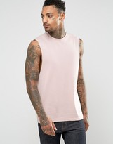 Asos Sleeveless T-Shirt With Dropped Armhole In Pink